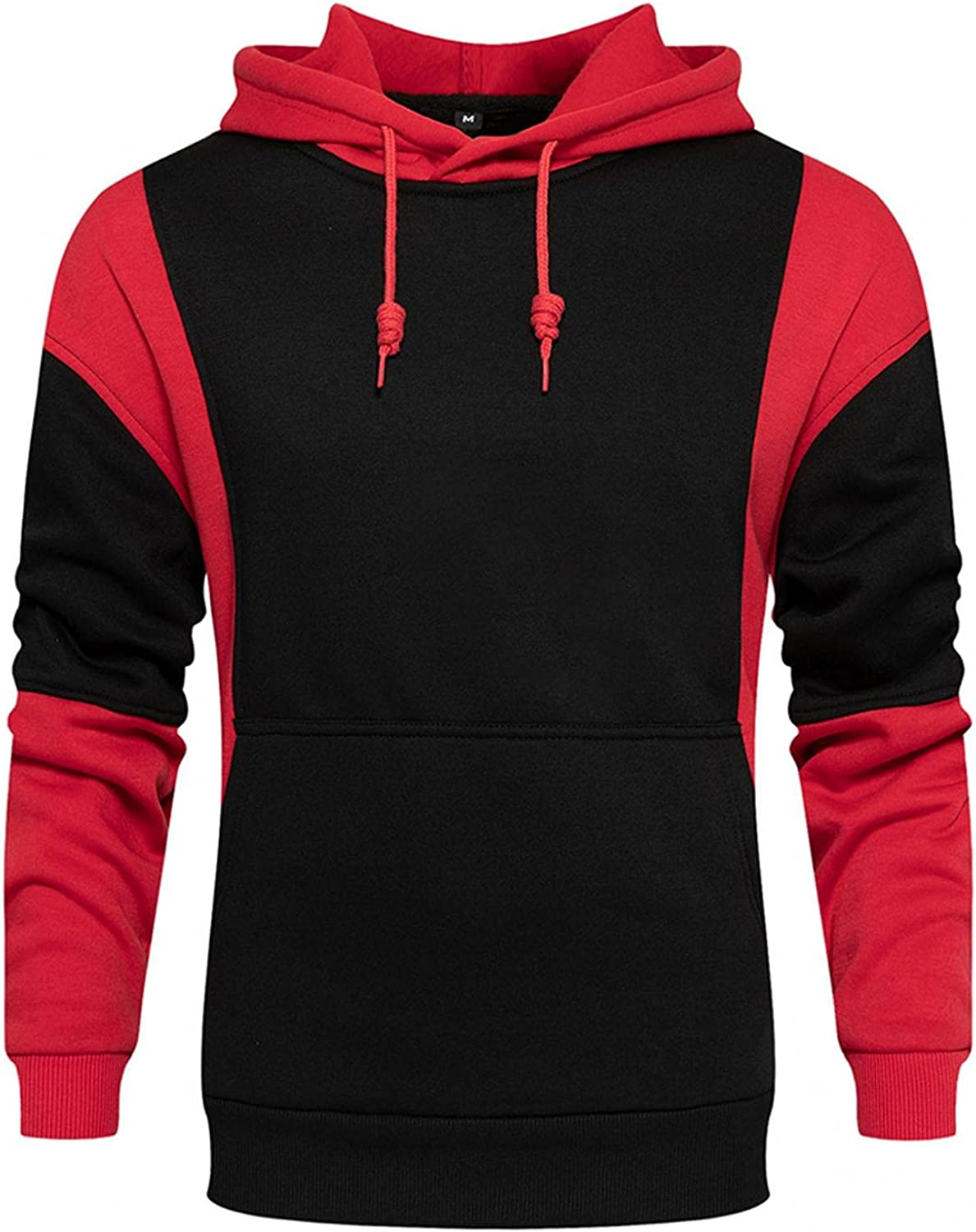 Mens Tops Men's Hipster Hip Hop Hoodie Button Down Colorblock Tshirt Casual Long Sleeve Warm Sweatshirts with Pockets