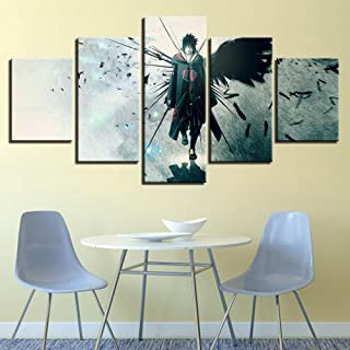 Fbhfbh Wall Art Modular Poster Frame Hd Print 5 Panel Ninja Anime Painting Modern Canvas Living Room Picture Home Decoration-16X24/32/40Inch,with Frame