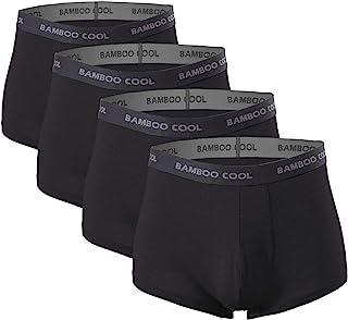 BAMBOO COOL Men's Underwear boxer briefs Soft Comfortable Bamboo Viscose Underwear Trunks (4 Pack)