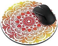 滑り止めの丸いマウスパッド たっての熱 ピンクのマーメイドは、ホームオフィスとゲームデスク用のマウスパッドをスケーリングします-RedOrangeMandala