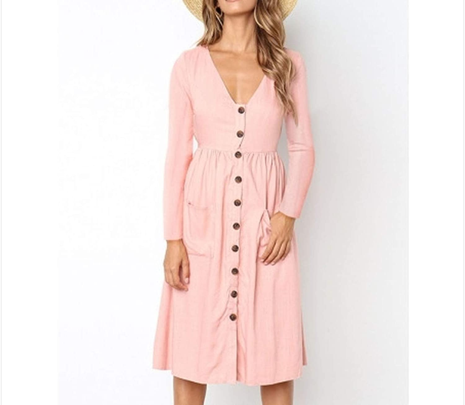 Autumn and Winter New Amazon hot VNeck LongSleeved Dress