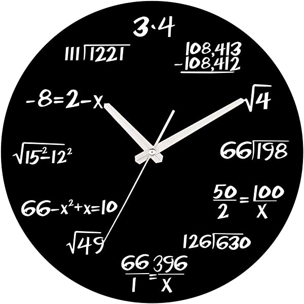 MEISTAR Modern Style Creative Numerals Wooden School Wall Clock Black 14 Inch Large Silent Wall Clocks For Classroom Library And Study Room Decoration
