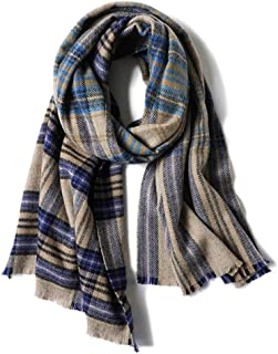 Scarves Scarf Scarves Women's Wool Scarf Autumn and Winter Plaid Shawl Thick Warm Scarf Fashion Shawl Scarves (Color : Blue, Size : 200 * 60cm)