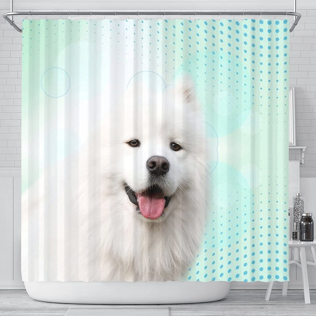 Reservation Pawlice Max 65% OFF Lovely Samoyed Dog Curtain Shower Print