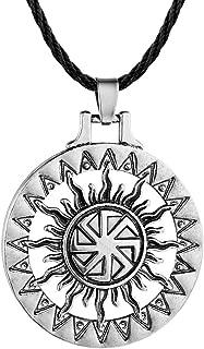 AILUOR Handcrafted Viking Norse Amulet Pendant Necklace, Vintage Sun Wheel Kolovrat Celtic Pagan Slavic Symbol Warrior Talisman Necklace Jewelry Men Unisex