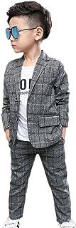 ZUOMAボーイズ 春秋新番スーツ 子供服 スーツセット 洋服 背広 スラックス 上下2点セット カジュアルコート チェック柄