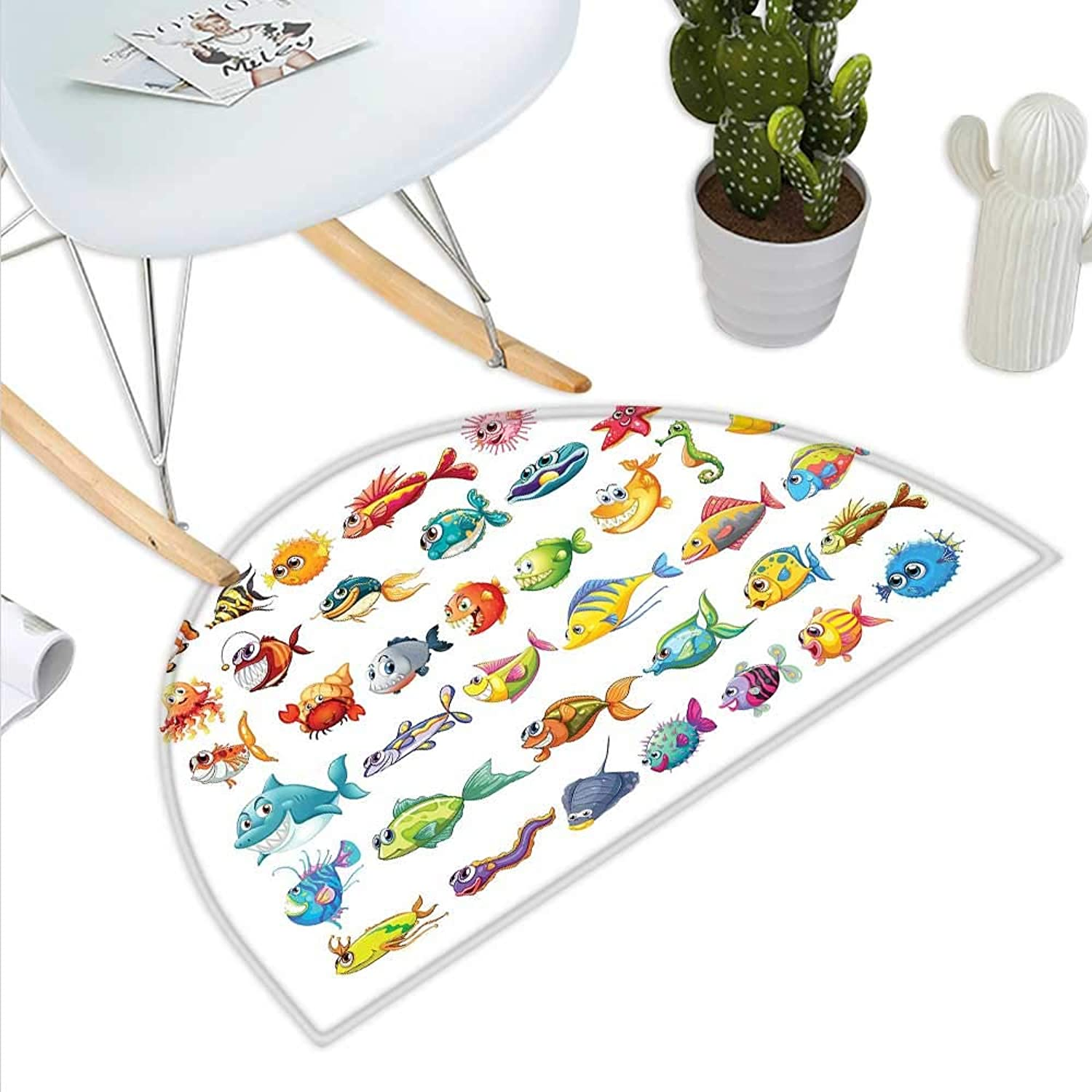 Fish Semicircle Doormat Collection of Sea Creatures Cartoon Style Vivid colors Happy Fish Lined Up Abstract Halfmoon doormats H 43.3  xD 64.9  Multicolor