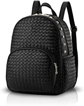 HUShjsd Woven Backpack Women Travel Backpack Shoulder Bag PU Leather Fashion College Backpack Black