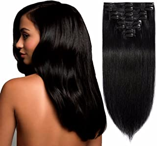 Standard Weft 8 Inch 65g Clip in 100% Real Remy Human Hair Extensions 8 Pieces 18 Clips #1 Jet Black