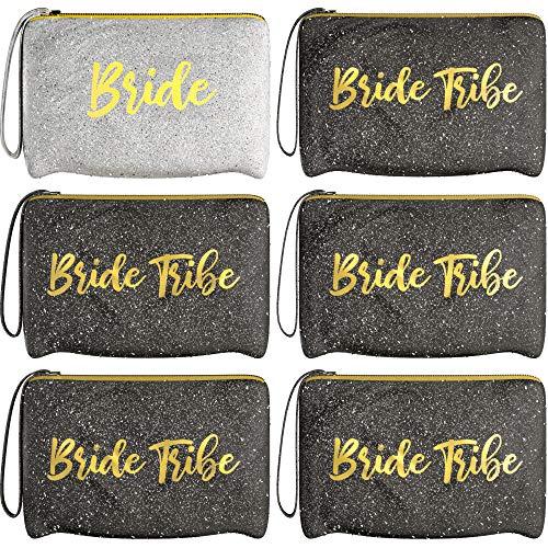 6 Piece Set | Black & Silver GLITTER Bride Tribe Bridesmaid Canvas Cosmetic Makeup Clutch | Purse Gifts Bag for Women | Wedding Supplies Bridesmaids Proposal Box & Bachelorette Party Favors