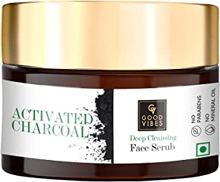Good Vibes Activated Charcoal Skin Exfoliating Face Scrub - 50 g - Deep Pore Cleansing and Moisutrizing For All Skin Types...