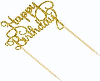 Goolsky 15pcs Glitter Paper Happy Birthday Cake Topper Cupcake Dessert Decoration Supplies for Birthday Party Celebration-...