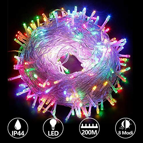 Hengda 200M 1000 LED Lichterkette, 8 Modi, 220V Low Voltage, Weihnachtslichterkette, Bunt, Innen und Außen, Wasserdicht, ideal für Weihnachten, Kinderzimmer,Party, Hochzeit, Geburtstag
