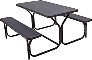 Giantex Picnic Table Bench Set Outdoor Camping All Weather Metal Base Wood-Like Texture Backyard Poolside Dining Party Garden Patio Lawn Deck Large Camping Picnic Tables for Adult (Black)