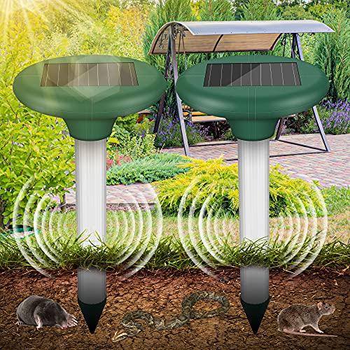 Vivibel 2 Piezas Ahuyentador de Ratas Solar, Repelente Solar Ultrasónico con IP56 a Prueba de Agua, Control de Lunares, Repelente de Lunares, Repelente de Lunares, Control de Plagas para el Jardín