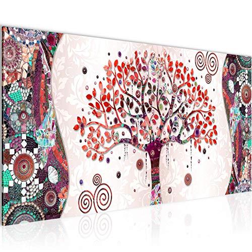Bilder Gustav Klimt - Baum des Lebens Wandbild Vlies - Leinwand Bild XXL Format Wandbilder Wohnzimmer Wohnung Deko Kunstdrucke Rosa 1 Teilig - MADE IN GERMANY - Fertig zum Aufhängen 004612c