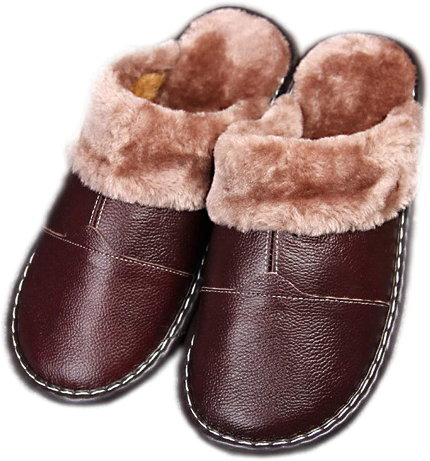 Winter Home Slippers PU Leather Indoor Ladies Winter Round Toe Home Plush Women Non-Slip Cotton shoes