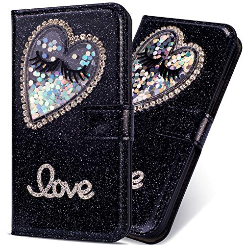 6City8Ni Kickstand Portefeuille Sparkle Bling Glitter pour Huawei P20 Lite