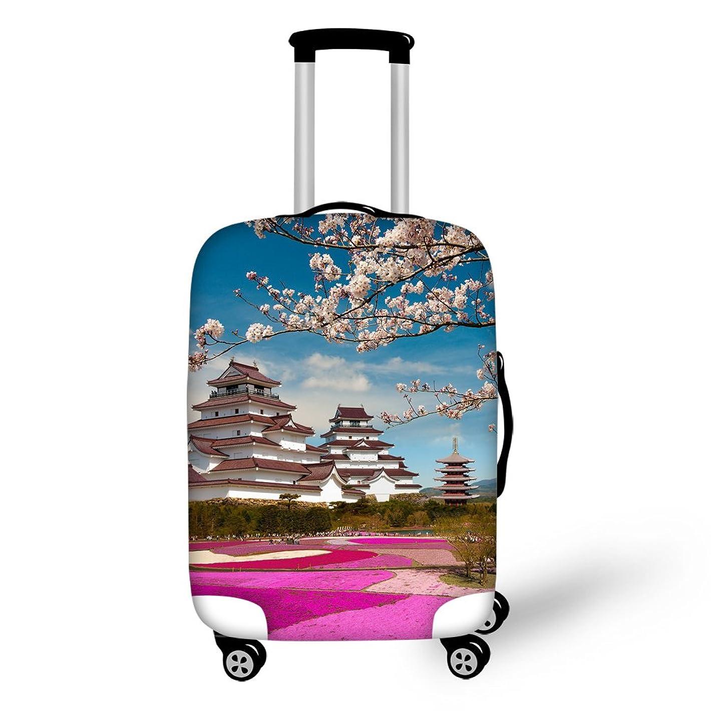 ハイブリッドオーバーラン将来のThiKin スーツケースカバー ラゲッジカバー luggage cover 富士山柄 目立つ 美しい 弾性設計 防塵 防水 洗える 伸縮素材 旅行 キャリーカバー おしゃれ 保護 トランクカバー S M L サイズ