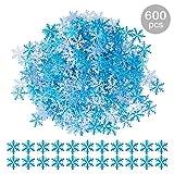 GWHOLE 600 Pcs Confettis de Table Flocon de Neige Bleu pour Table de Noël Décorations Fenêtre d'hiver Mariage Anniversaire Artisanat DIY