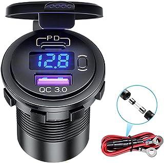 USB C Car Charger Socket, 48W Dual PD USB C Quick Charge 3.0 USB Car Power Outlet 12V/24V Car Socket with LED Voltmeter an...