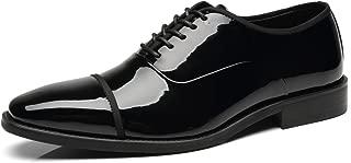 Faranzi Tuxedo Shoes Patent Leather Wedding Shoes for Men Cap Toe Lace up Formal Business Oxford Shoes
