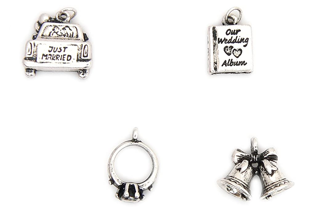 Wedding Theme Charms - Silver Plated - Set of 4