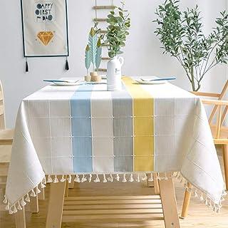 رومیزی منگوله ای گلدوزی Smiry - رومیزی ضد ریز گرد و غبار پارچه ای پنبه ای برای اتاق مهمانی آشپزخانه تزیین میز رومیزی خانه (مستطیل / مستطیلی ، 55 70 70 اینچ ، زرد)