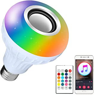 Bluetooth Light Bulb Speaker RGB Changing Lamp Dimmable LED Music Light Bulb E26 Base Bluetooth 4.0 with Remote Control for Home/Stage
