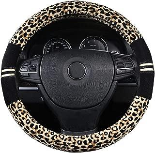 XiXiHao Soft Leopard Car Warm Steering Wheel Cover for Women in Winter Yellow Black