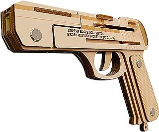 Rubber Band Pistol,Wooden 3D Puzzles Model Kit Safe and Environmentally Friendly Wooden Model Kit Develop Intelligence (Desert Eagle)