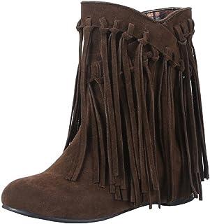 5c5b9aebaa Agodor Damen Flache Ankle Boots Winter Kurz Stiefeletten mit Fransen Nubuk  Leder Warme Gefüttert Schuhe