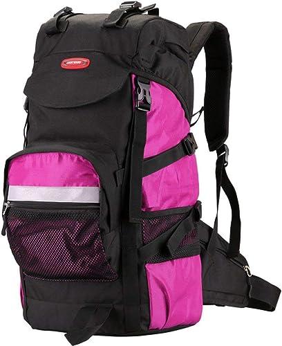 XQY Trekking sac à doss Back Sac à dos de randonnée-de plein air Sac à dos de randonnée décontractée, Rose Sac à dos imperméable Sport Voyage Trekking FonctionneHommest femmes,45L