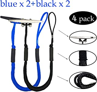 Jranter Pack of 4 Boat Bungee Dock Lines 4-5.5 ft Stretch Boat Docking Accessories Mooring Rope Boating Gift for Men