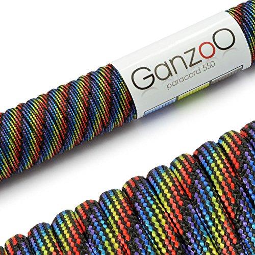 Paracord 550 Seil Dark Rainbow | 31 Meter Nylon-Seil mit 7 Kern-Stränge | für Armband | Knüpfen von Hunde-Leine oder Hunde-Halsband zum selber machen | Seil mit 4mm Stärke | Mehrzweck-Seil | Survival-Seil | Parachute Cord belastbar bis 250kg (550lbs) bunt