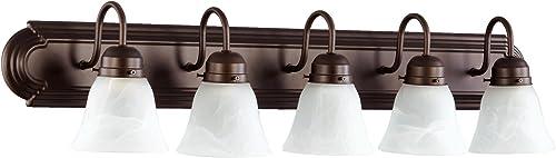 discount Quorum 5094-5-186 online sale Transitional discount Five Light Vanity, Oiled Bronze outlet sale