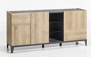 Muebletmoi Bahut - Aparador con puertas y casetas de almacenamiento madera gris y beis decoración contemporánea colecci...