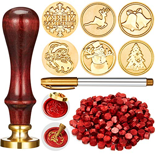 Juego de 208 Sellos de Cera de Navidad, Incluye 6 Cabezas de Latón con Sello de Cera con Mango de Madera, 200 Sellados de Lacre y Rotulador de Oro para Decoración (Patrones Variados)