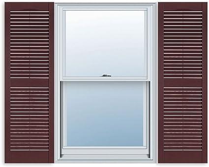 Amazon Com 15 Inch X 55 Inch Standard Louver Exterior Vinyl Window Shutters Bedford Blue Pair Home Kitchen