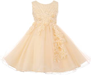 CrunchyCucumber Sequins Pearl Beads Floral Applique Glitters Tulle Girl Dress