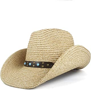 Sun Hat for men and women New Fashion Retro Vintage Women's Men's Hollow-out Bohemia Cowboy Western Summer Straw Turquoise Leather Band Cowgirl Sun Hat Panama Hat