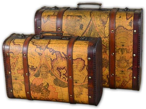 CHENSHJI Maleta Decorativa Maleta De Almacenamiento De Los Accesorios Retro Mapa del Regalo del Tema Juego De 2 Ordinaria Madera Cofre del Tesoro De Cuero De La PU (Color : Brown, Size :