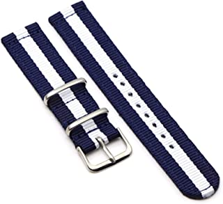 Achket Strap 20mm Nylon Strap 22mm Strap 18mm NATO Strap Solid Color Watch Strap (Color : 24mm, S : Blue and white)