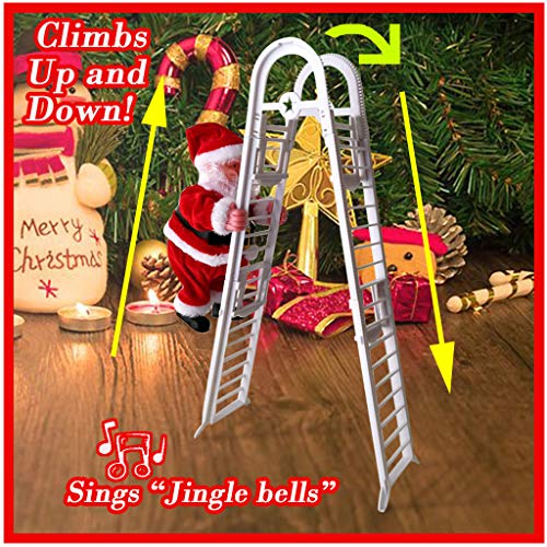 Santa Claus Climbing Ladder Up & Down Singing Jingle Bells - Christmas Electric Plush Doll Figurine Decoration - Animated Hanging Xmas Ornament Toys with Music - Holiday Indoor Home Party Decor (Red)