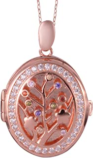 Rose Gold Plated 925 Sterling Silver Multi Color Cubic Zirconia CZ Pendant Round Jewelry for Women Ct 0.2