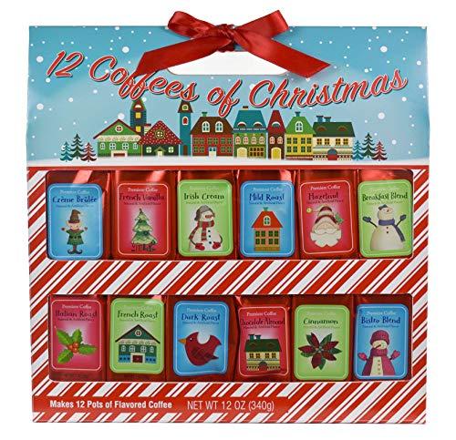 Holiday 12 Gourmet Coffee Of Christmas | Creme Brulee Vanilla Irish Cream Mild Roast Hazelnut Breakfast Blend Italian French Dark Chocolate Almond Cinnamon Bistro | Sampler Variety Gift Set (Coffee)