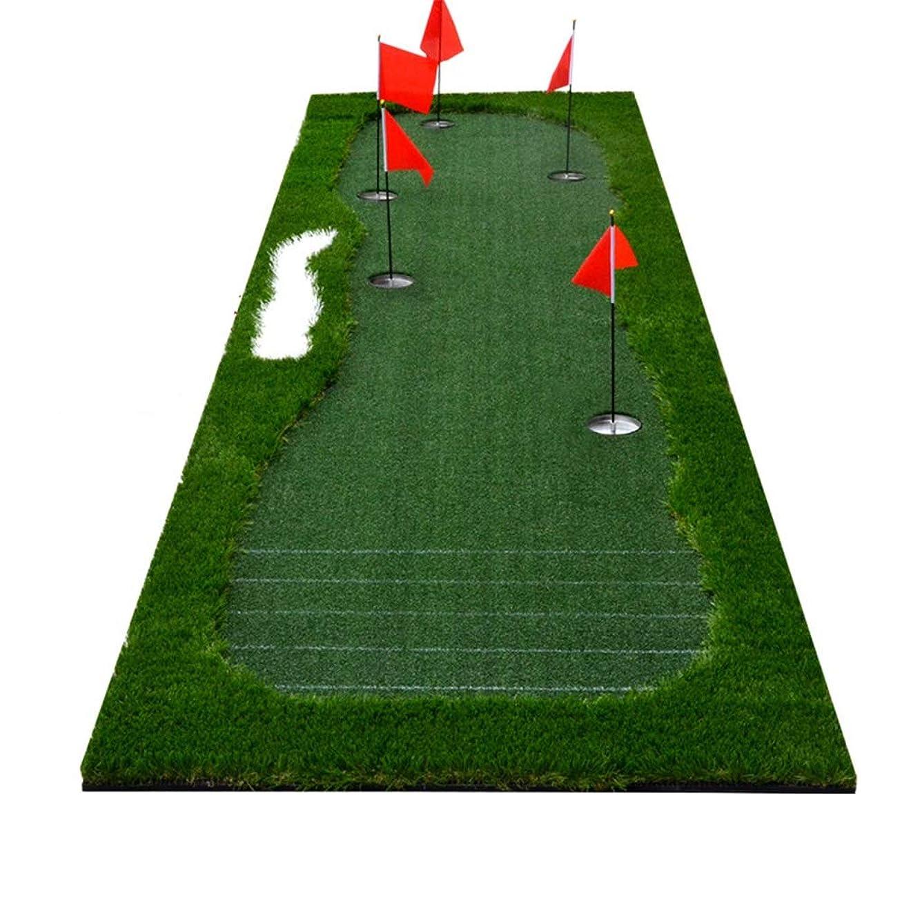 極めて重要な少し案件インドアマットゴルフミニアーティフィシア ポータブル屋内/屋外ゴルフグリーンパッティンググリーンシステムプロの練習パタートレーニングマットエクストラロングリアルライクグラスパッティングトレーナーセット サーフェスフラッグアクセサリー (色 : 緑, サイズ : 1*3.5m)