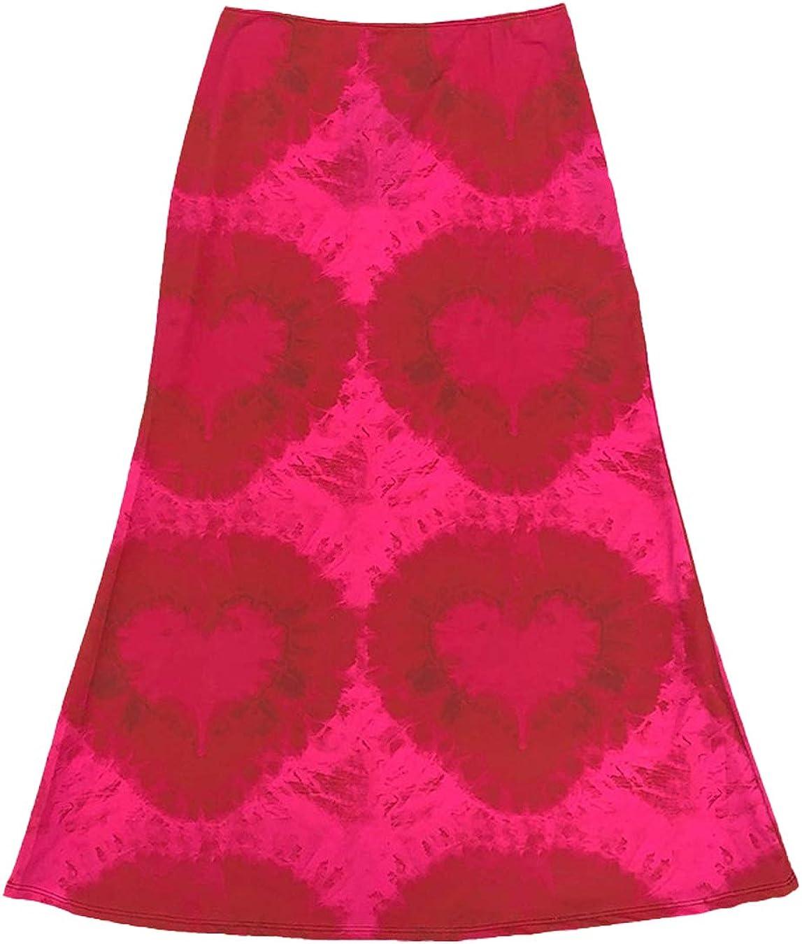 Women Casual Boho Skirts High Waisted Tie Dye Bodycon Skinny Aline Midi Party Skirt Red S