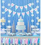 Frozen Party Supplies Winter Wonderland Onederland Theme Birthday Decoration Backdrop Snowflake Hanging Decorations, Birthday Banner and Tassel Garland Set for1st 2 3 4 5 6 Years Old boy Girl Party