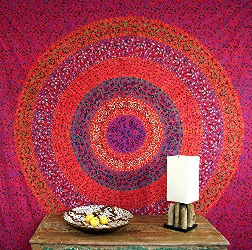 Guru-Shop Boho-Style Wandbehang, Indische Tagesdecke Mandala Druck- Rot/lila/klein, Baumwolle, 225x150 cm, Bettüberwurf, Sofa Überwurf